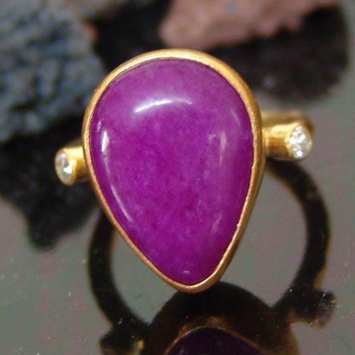 - 925 Sterling Silver Purple Drop Jade Designer Ring 24k Gold Vermeil Handcrafted Women Statement Ring Turkish Designer Fine Jewlery Ancient Roman Art