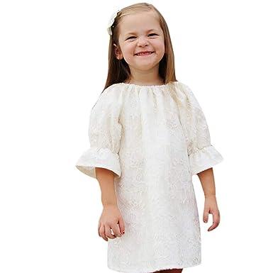 d9c75f30819c Amazon.com  Rucan Little Baby Girls Lace Strap Floral Dress Princess ...