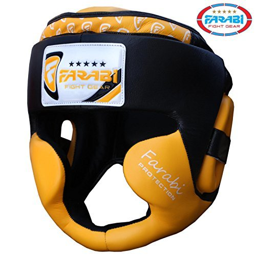 Boxing headguard, head protector mma muay thai kickboxing training punch protector genuine leather (Yellow, Large/X Large)