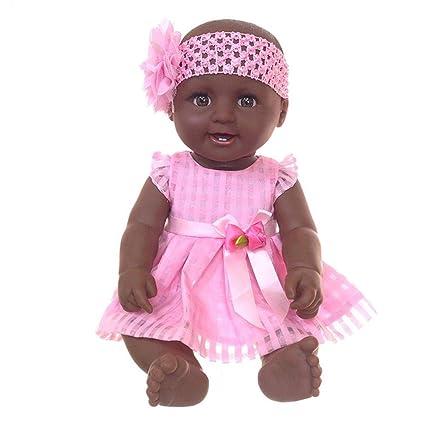 pretty-H Muñeca De Simulación Muñeca Negra Grande Niño Calvo Plástico De Silicona Muñeca Africana