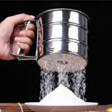 stainless steel microwave Hot Sale! AMA(TM) Home Kitchen Stainless Steel Mesh Sieve Cup Powder Flour Sieve Mesh Knife Baking Pastry Tools (Sliver)
