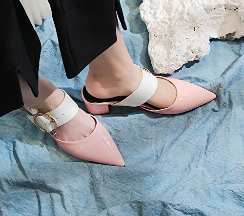 geradem mit Damen Schnitt Shoes Mee Blockabsatz Pink A4Iz5c