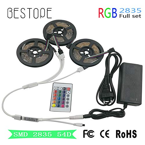 15 M 10 M 5 M RGB Led Strip Light SMD 2835 RGB Diode Led Tape Ribbon 3528 Waterproof Led Tape and Remote Controller with Adapter - (Emitting Color: 10M Set, Color: Non Waterproof, Ships from: China)