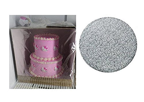Cakesuppyshop Cjk87a -12inch Elegant Silver Corrugated Round Cake Drum Board with 12 X 12 X 12 Two Tier Tall Cake (2 Tier Cakes)