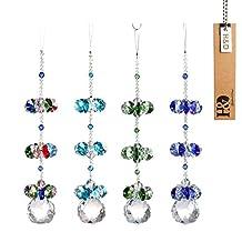 H&D Crystal Hanging Ornaments Crystal Suncatcher Window Pendant Fengshui Rainbow Maker Chandelier Ball Prism (a set of 4)