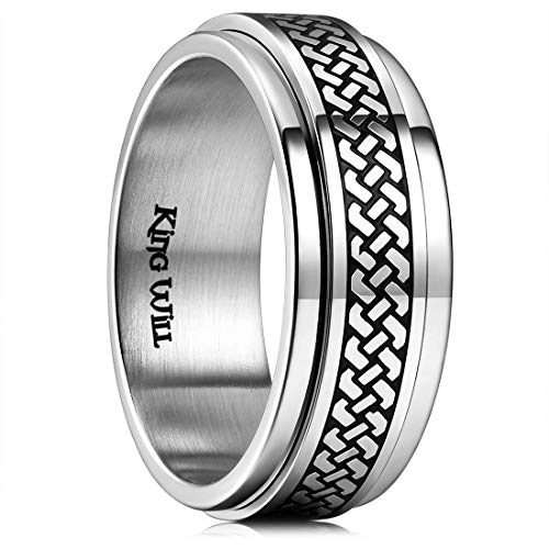 (King Will Intertwine 8mm Mens Stainless Steel Wedding Ring Spinner Statement Band Knot Design High Polished 9.5)