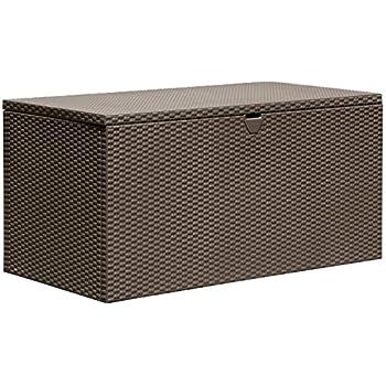Amazon Com Sturdy Metal Deck Box Storage Bench Espresso