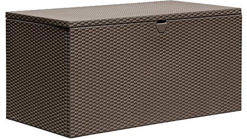 - Sturdy Metal Deck Box Storage Bench, Espresso