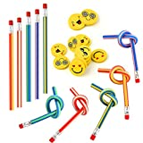 KUUQA 62 Pcs Kids Party Bag Filler Set, Soft Flexible Bendy Pencils and Emoji Smile Erasers Magic Bend Toys School Fun Stationary Equipment Party Favor Supplies