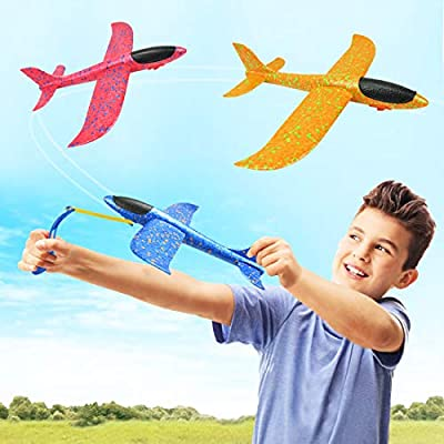 DC-BEAUTIFUL 3 Pack Airplane Toys, Slingshot Plane 2 Flight Modes, Throwing Foam Airplanes with Slingshot Launch, Outdoor Sport Toy Party Favor Birthday Gift for Kids: Toys & Games