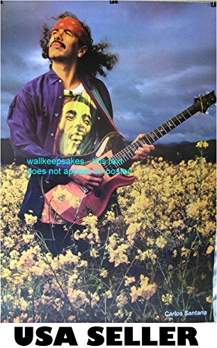 Carlos Santana Poster playing guitar in flower field sent From USA in PVC pipe