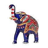 5.1'' Trunk-Up Good Luck Elephant Sculpture - White Metal Figurine Handmade with Meenakari Work - Unique Home Decor Statue