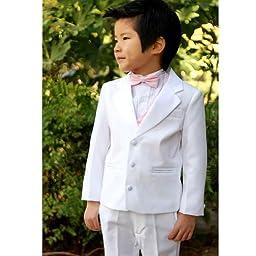 NancyAugust Modern Toddler Boy Formal Tuxedo with Vest 2T-20-White-8