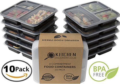 3 Compartment Meal Prep Food Storage Containers  with Lids/B