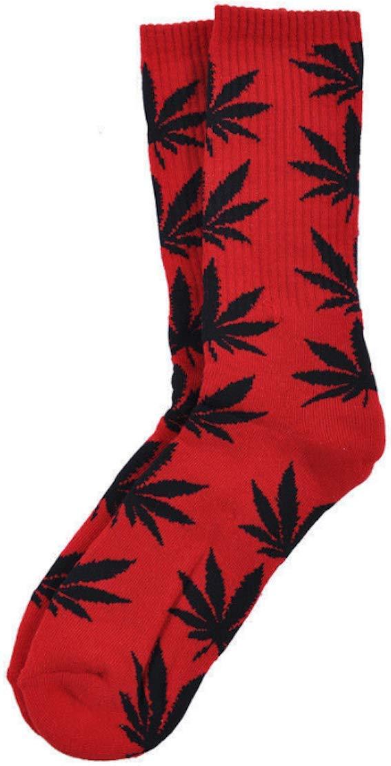 Calcetines Weed marihuana diseño rojo con hojas, color negro: Amazon.es: Iluminación