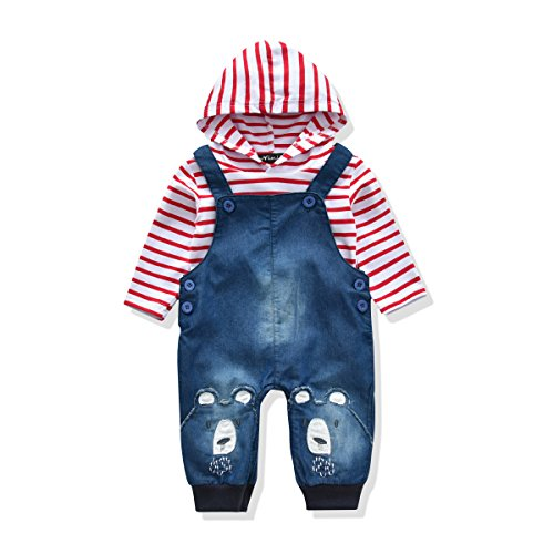 LvYinLi Cute Baby Boys Clothes Toddler Boys' Romper Jumpsuit Overalls Stripe Rompers Sets (3-8 months, Red)