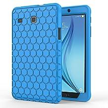MoKo Samsung Galaxy Tab E 8.0 Case - [Honey Comb Series] Light Weight Shock Proof Silicone Corner/Bumper Protective Cover for Samsung Galaxy Tab E 8.0 Inch SM-T377 4G LTE Verizon / Sprint Tablet, BLUE