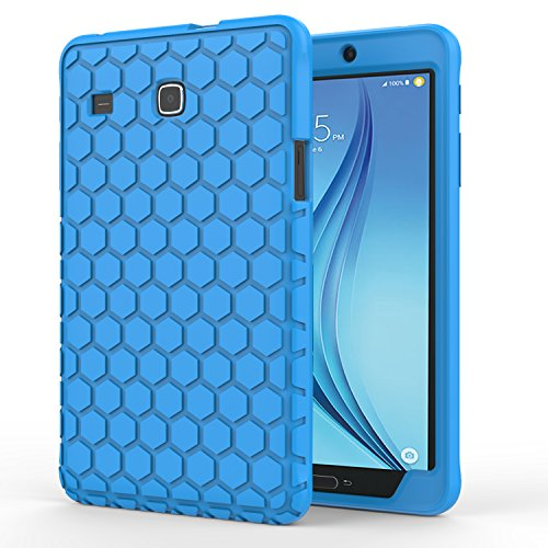 MoKo Samsung Galaxy Tab E 8.0 Case - [Honey Comb Series] Light Weight Shock Proof Silicone Corner/Bumper Protective Cover for Samsung Tab E 8.0 Inch SM-T377 4G LTE Verizon / Sprint Tablet, BLUE ()