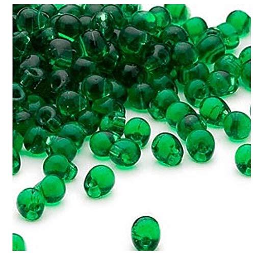 (20 Grams Fringe Miyuki Glass Beads Teardrop Seed Beads Drops 4x3.4mm (Green))