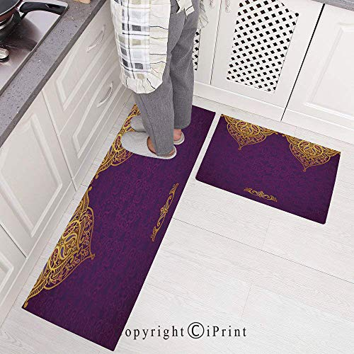 Non-Slip Rubber Backing Carpet Kitchen Mat,Eastern Oriental Royal Palace Patterns with Bohemian Style Art Traditional Wedding Doormat Runner Bathroom Rug 2 Piece Sets,15.7