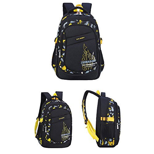 ZHIMABABY Rucksack Yellow Girls Book School School Schoolbags Neutral Backpack for Bags Boys Spine Children Nylon Bag Waterproof Black Satchel Daypack Lightweight Protection pgrqwCpH