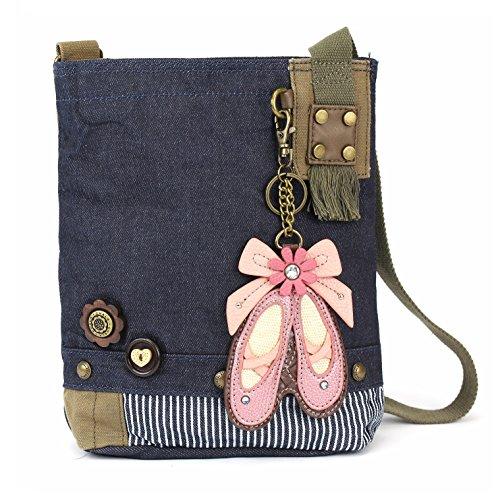Chala Patch Cross-Body Women Handbag, Blue Denim Canvas Messenger Bag - Ballerina Denim