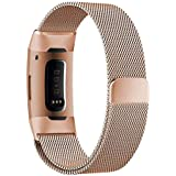 LNKOO Compatible with Fitbit Charge 3 & Charge 3 SE Bands, Steel Band Replacement Strap Sport Wristband for Charge 3 Fitness Tracker Colour: Rose Gold