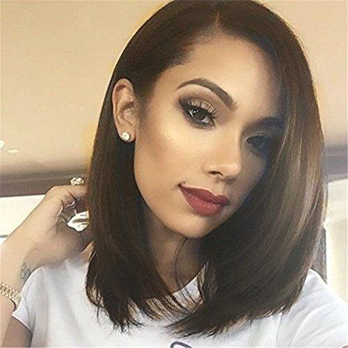 Gloomy Brown A-line Bob hair Wigs Straight Short Hair Synthetic Hair Fiber 14 inches cosplay as trustworthy hair for women