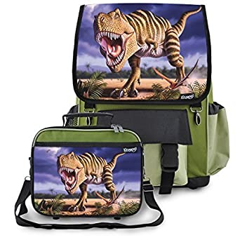 Kidaroo Striped T-Rex Dinosaur School Backpack Lunchbox for Boys, Girls, Kids