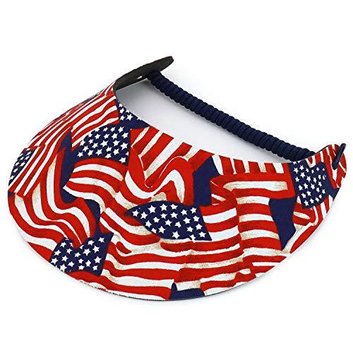 Trendy Apparel Shop Patriotic USA Flag Design Elastic String Coil Foam Sun Visor - H ()