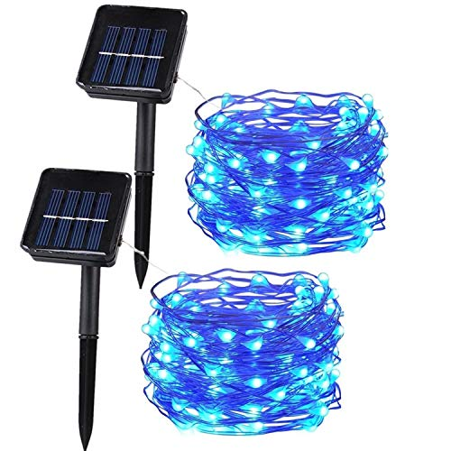 Anxus Solar String Lights, 100 LEDs Blue Starry String Lights, Copper Wire solar Lights Ambiance Lighting for Outdoor, Gardens, Homes, Dancing, Christmas Party (2 pack)