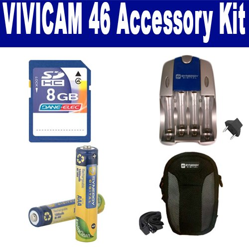 Vivitar ViviCam 46 Digital Camera Accessory Kit includes: SB202 Battery, SB257N Charger, SDC-21 Case, KSD48GB Memory Card by Synergy Digital