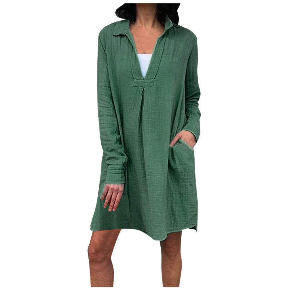 Summer Dress for Women Short Sleeve Pockets Empire Waist Pleated Loose Swing Flare Dress Womens Solid Color Short Sleeve Pocket Dress Party Elegant Dress