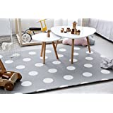 Little Bot baby foam play mat, non-toxic, odourless and ultra-cushioned. 180cm x 150cm. Race track and Polka dots (space grey) by Little Bot