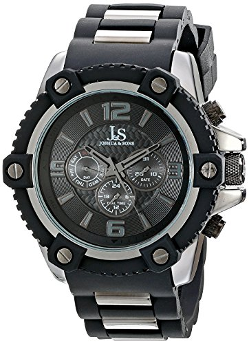 Joshua & Sons Men's JS94BK Black Multifunction Swiss Quartz Watch With Black Dial and Black and Dark Gray Silicone Strap