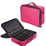 Lucky Tree Makeup Bag 3 Layers Portable Cosmetic Travel Case With Brush Holder And Adjustable Dividers (large, pink)