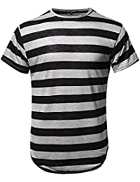 Men's Stripe Longline Slim Fit Round High Low Hem Short Sleeve Top