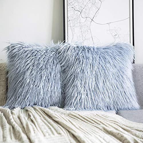 Phantoscope Set of 2 Light Blue Decorative New Luxury Series Merino Style Fur Throw Pillow Case Cushion Cover 18 x 18 inches 45cm x 45cm (Pillow Fur Blue)