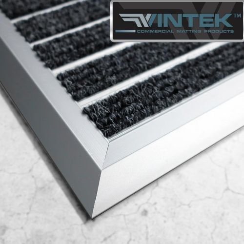 VinTek Metal door mat made out aluminum threads with carpet inserts by (36'' x 24'', Black)