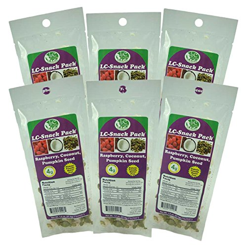 Raspberry, Coconut & Pumpkin Seed Snack Pack (6 Pack) - LC Foods - Low Carb - All Natural - Paleo - Gluten Free - No Sugar - Diabetic Friendly - 1.0 oz Each