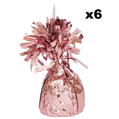 - Unique Party Foil Tassels Balloon Weights (Pack of 6) (One Size) (Rose Gold)
