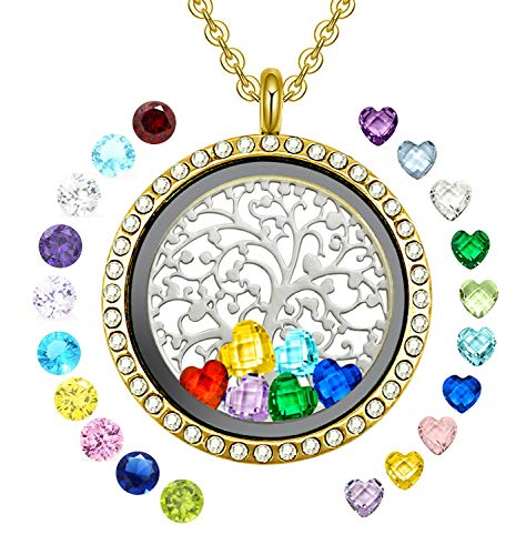YOUFENG Floating Living Memory Locket Pendant Necklace Family Tree of Life Birthstone Necklaces (Gold CZ Locket)
