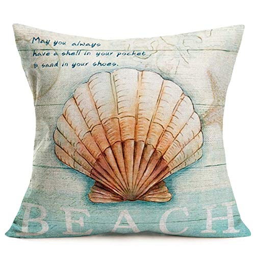 YANGYULU Vintage Ocean Beach Shell Throw Pillow Covers Wooden Coastal Sea Scallop Inspirational Quote Words Decorative Cotton Linen CushionCover Gift Decor Home Sofa Bed 18x18(Beach Scallops)
