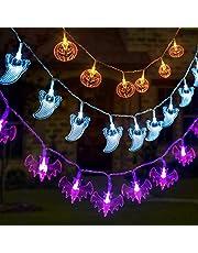GIGALUMI 3er Set Halloween String Lights 3.75m Battery Operated Pumpkin Bat Ghost Halloween Lights Decoration for Halloween, Christmas, Party