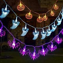 GIGALUMI 3 Set Halloween String Lights 6.5ft Battery Operated Pumpkin Bat Ghost Halloween Lights Decoration for Halloween, Christmas, Party