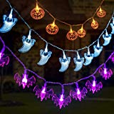 GIGALUMI 3 Set Halloween String Lights 6.5ft Battery Operated Pumpkin Bat Ghost Halloween Lights Decoration for Halloween, Christmas, Party