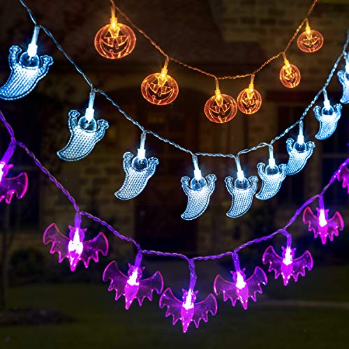 GIGALUMI 3 Set Halloween String Lights 6.5ft Battery Operated Pumpkin Bat Ghost Halloween Lights Decoration for Halloween, Christmas, Party ()