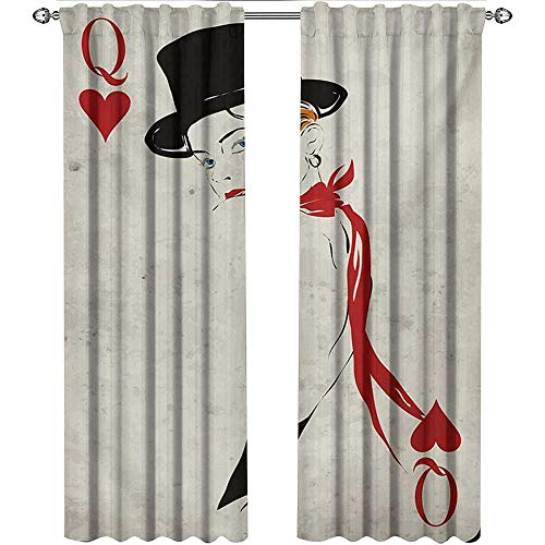shenglv Queen, Curtains, Retro Style Woman with Hat Playing Card Design Poker Casino Icon Gamble, Curtains Kids Room, W84 x L84 Inch, Vermilion Beige (Royale Poker Case Casino)