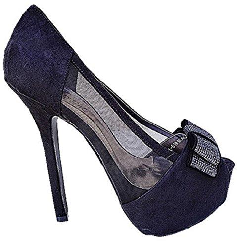 Sandales a plateforme talon escarpins femme chaussure noeud chic soirée L-518 NOIR