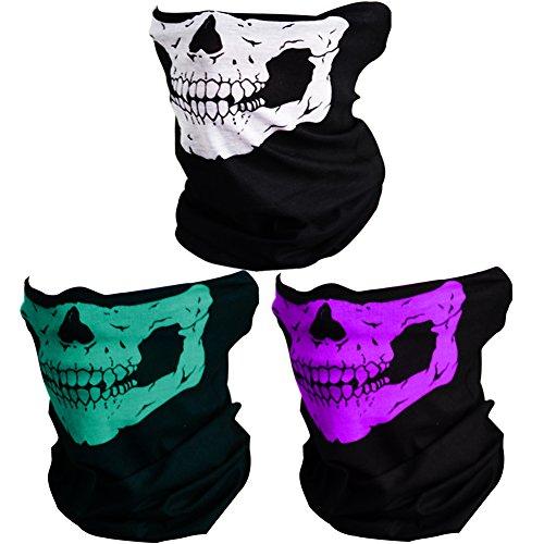 CIKIShield Couples Seamless Skull Face Tube Mask Black (3pcs-Color Set-B)